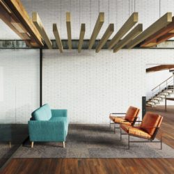 Joist acoustic ceiling baffles in an common area